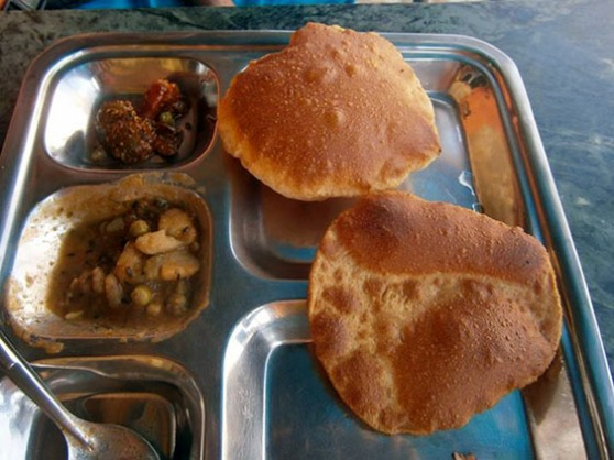 1. Breakfast - Bathura - huge fried mekici (fried batters) with potato curry
