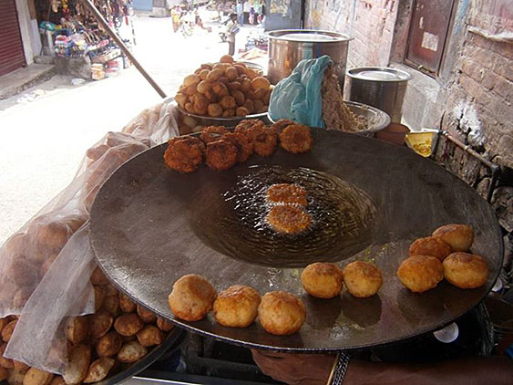 6. Fried potato balls, served with different sauces. Very delicious