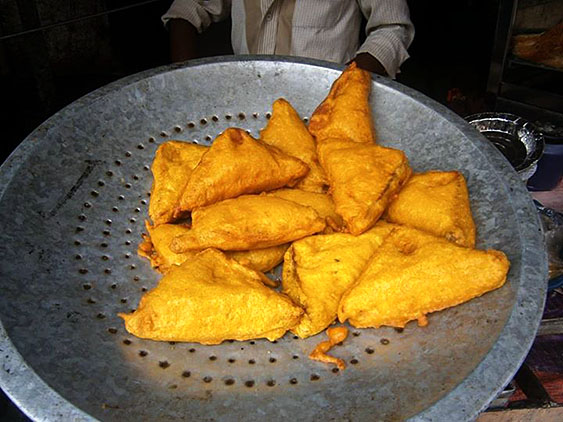 7. Fried slices of bread with potato filing