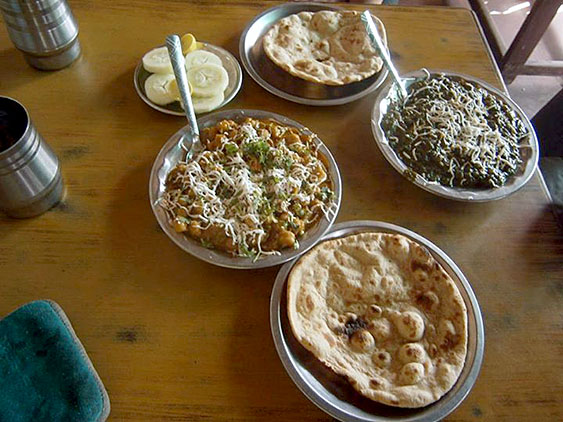9. Dinner - Chapati, salad and vegetable curries - chick peas with masala and spinach with cheese (paneer - kind of Indian cheese)